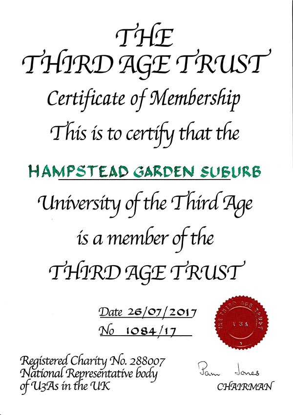 HGS U3A's certificate of membership of the Third Age Trust