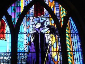 Stained glass window showing character from Disney animation