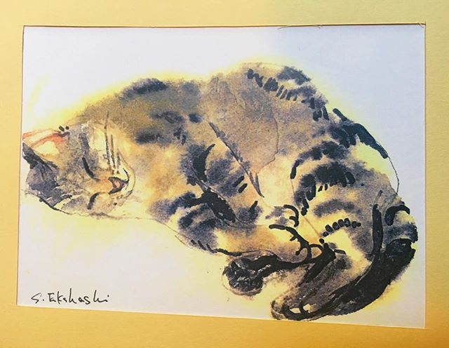 Watercolour of a tabby cat asleep