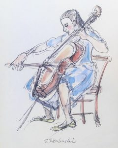 Drawing of young woman playing cello