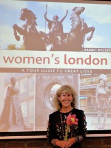 Rachel Kolsky and the cover of her book on Women's London