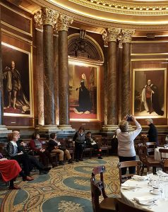 Dining room inside Drapers Hall with portrait of Queen Victoria