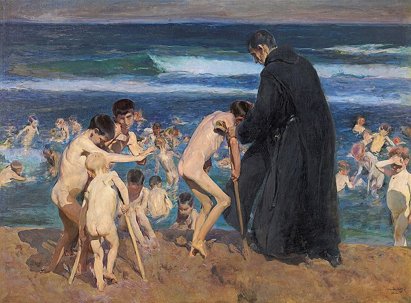 Painting of disabled children being helped by a priest to enter the sea.