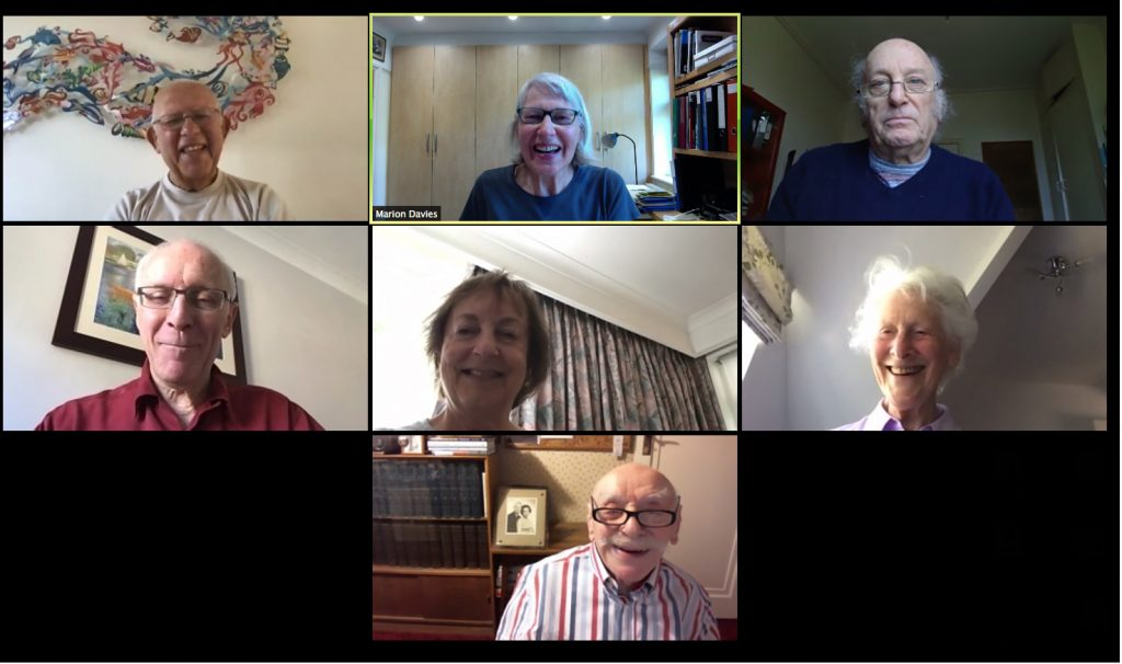 Members of the Ivrit Conversation group in a Zoom session